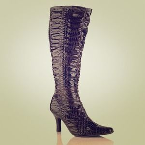 Shoes - Bellini croco-embossed tall stretch boot