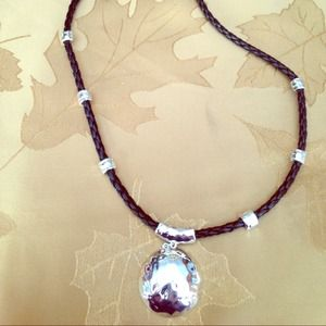 Jewelry - Hammered silver dome necklace