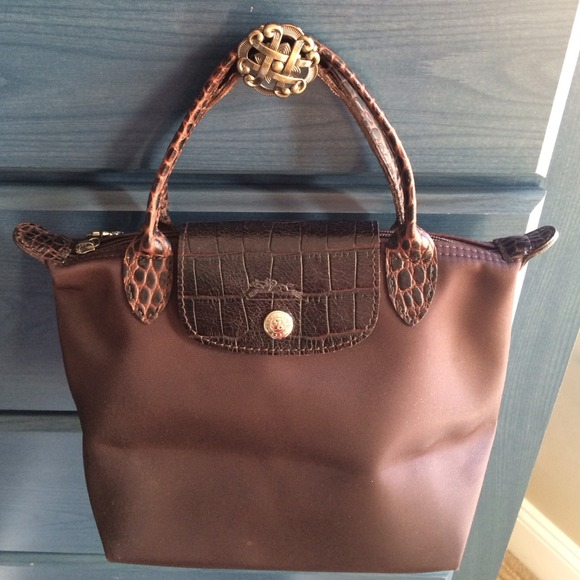 Longchamp Handbags - Chocolate w  faux croc accents authentic Longchamp ae9d088086844