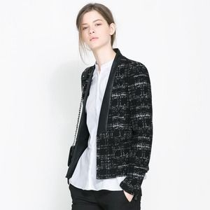 Zara blazer with faux leather trim
