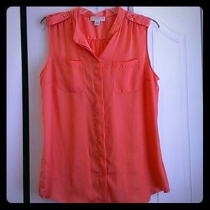 kenar Tops - Coral satin like tank top - size L