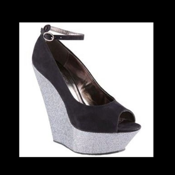 13486db26b5 Sexy Black Silver Glitter Peeptoe Wedge plataform