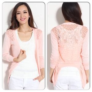 Tops - Sexy Pink Knit Sweater Floral Gauze Back
