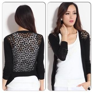 Tops - Sexy Black Knit Sweater Floral Gauze Back Top