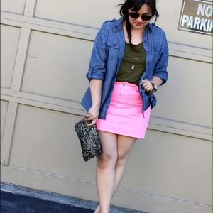 JustFab Dresses & Skirts - Neon Pink Denim Mini Skirt