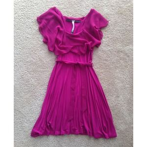 Kensie Fuschia Chiffon and Knit Dress