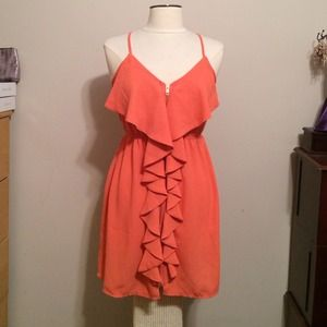 Coral Spaghetti Strap Ruffle Dress