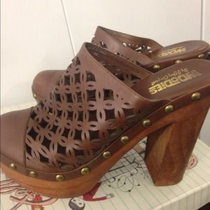 Jeffrey Campbell wooden and leather clogs