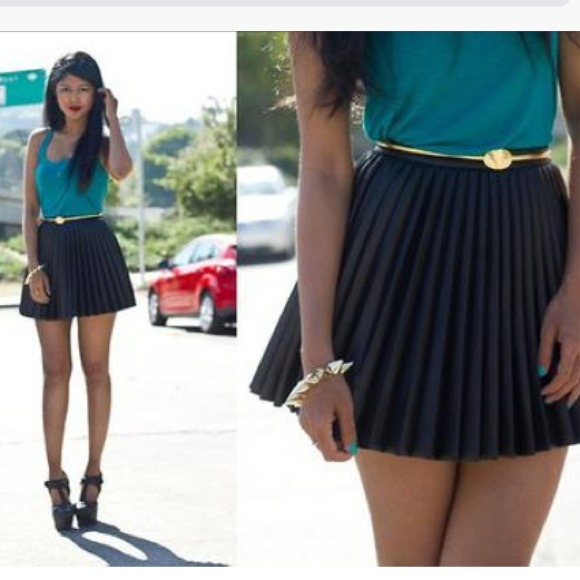 leather pleated skirt h&m
