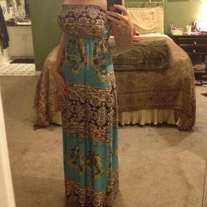 Dresses & Skirts - Teal & brown print maxi dress