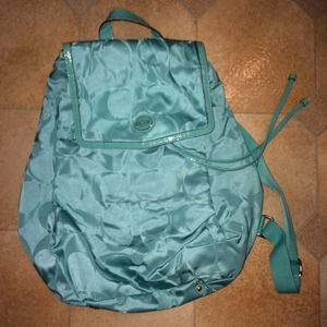 Coach Sig C Nylon Packable Backpack in teal
