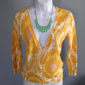 J. Crew Sweaters - J.Crew yellow pattern cardigan