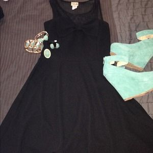 Dresses & Skirts - Black Mesh Top Dress