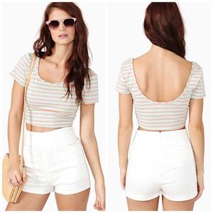 Nasty Gal Tops - Nasty Gal || Candy Stripe Crop Top