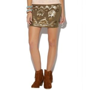 Aztec Olive Sequin Mini Skirt