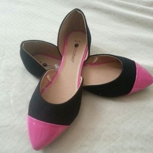 Black & Hot Pink Summer Flats