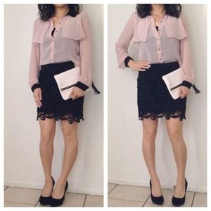 Tops - Blush & Black Collared Blouse