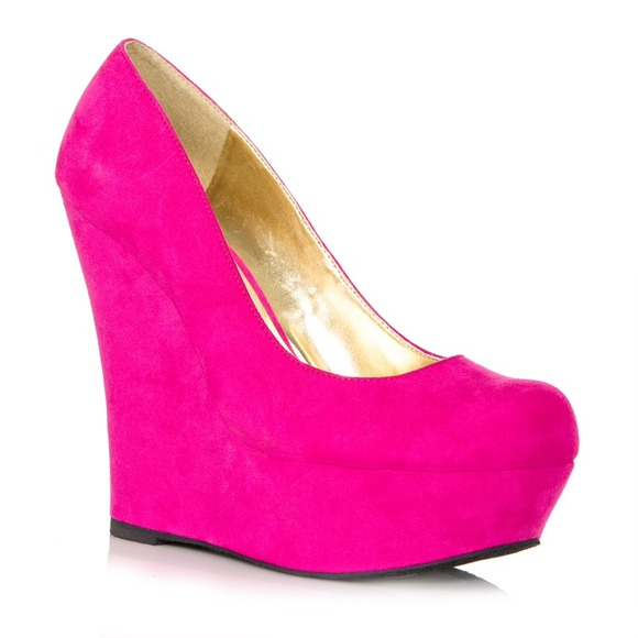 Shoes - Hot pink suede wedges