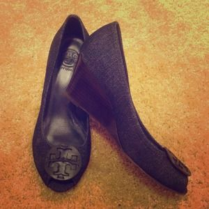 Tory Burch denim jean wedge heel shoe 8