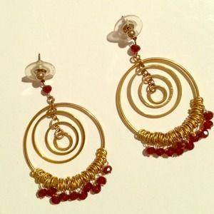 Gold & Garnet Earrings NOT HEAVY