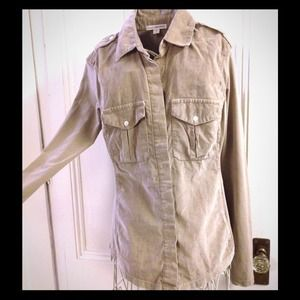 James Perse button up in taupe NWOT