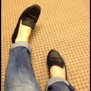 Steven black calf hair loafers