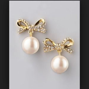  Authentic Kate Spade Pearl Bow Earrings