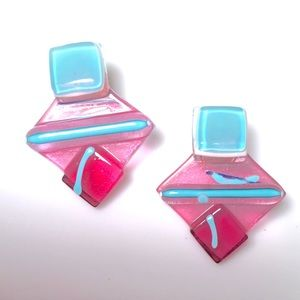 Jewelry - Fused glass earrings. Blue and rose