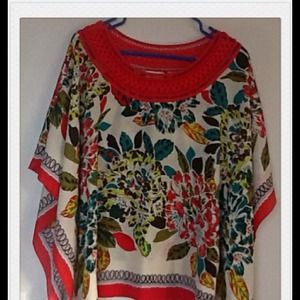 Red collar floral cape tops cover up
