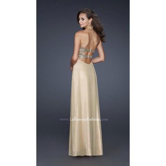 95ced2b9aaee La Femme Dresses | 16977 Gold Open Back Prom Dress | Poshmark