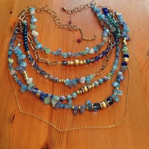Jewelry - Magnificent multistrand blue and gold necklace