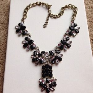 Crystals and black lucite stone statement necklace