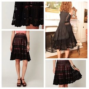 Free People Exclusive Crochet Skirt  in Black