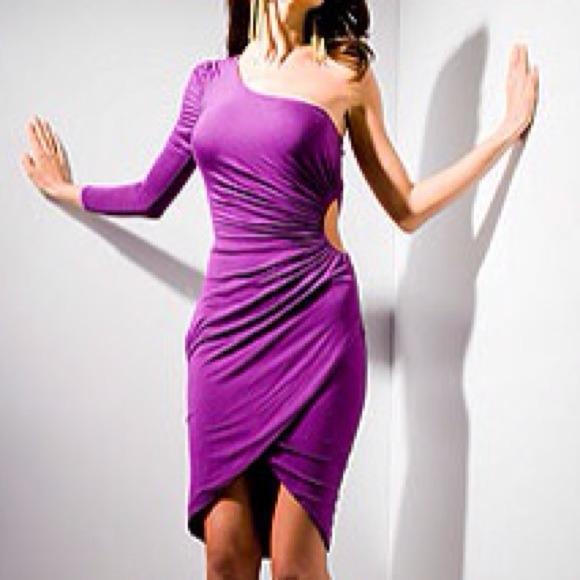 Kardashians Bebe Purple One Shoulder Dress