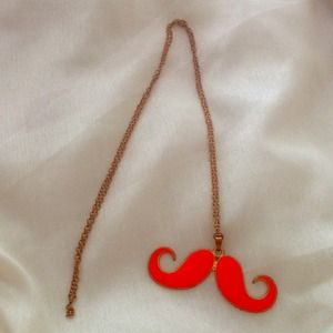 Jewelry - ✨LAST CHANCE✨ Orange Mustache Necklace