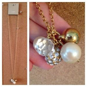 J. Crew Jewelry - J Crew long Gold necklace with pearls and crystals