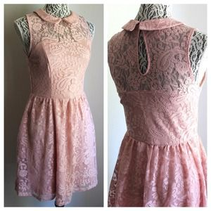 Blush Pink Lace Peter Pan Collar Dress
