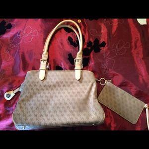 Dooney and Bourke beige and brown handbag