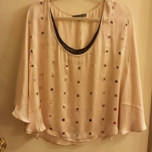 Silk very pale pink top with mini mirrors