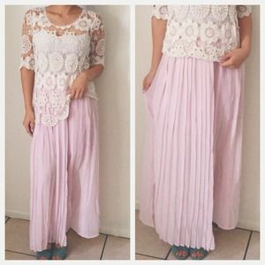 Dresses & Skirts - Whimsical Violet Pink Pleated Maxi Skirt