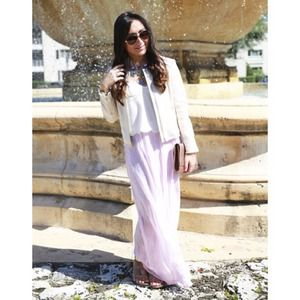 Whimsical Violet Pink Pleated Maxi Skirt