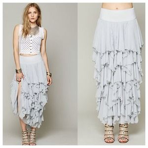 Bundled Free People Tiered Chiffon Maxi Skirt