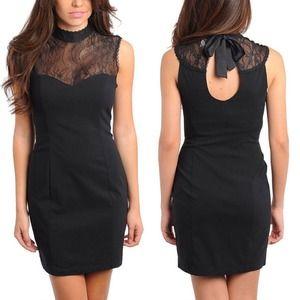 Sleeveless Little Black Turtleneck Cocktail Dress