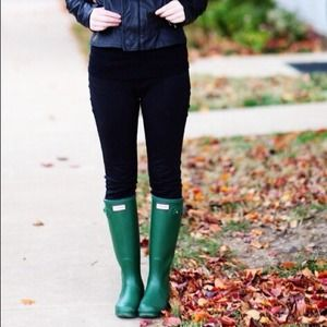 Hunter Green Rain Boots and a Dress