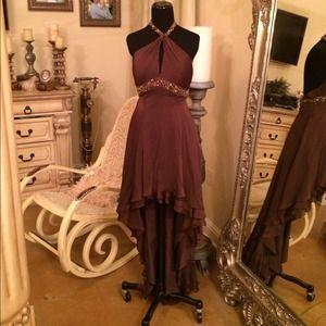 Dresses & Skirts - Brown Halter neck Gown