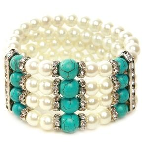 Jewelry - LOVELY PEARLS & TURQUOISE STRETCH BRACELET