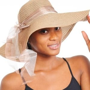 Accessories - FLOPPY STRAW SUN HAT WITH RIBBON & STONE