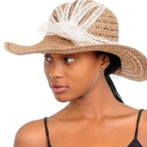 Accessories - LACE RIBBON STRAW HAT
