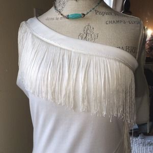 Sexy White One Shouldered Fringe Dress