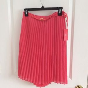 Ivanka trump pleated coral skirt